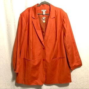 Jessica London Plus Burnt Orange Linen Blazer